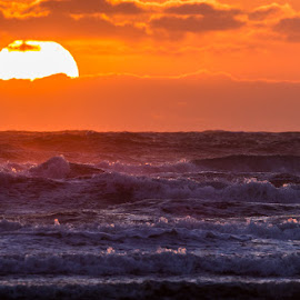 Angry sea at Sunset by Brent Morris - Landscapes Sunsets & Sunrises