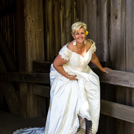 Unibride by Mats Nordgren - Wedding Bride ( unicycling, covered bridge, dress, wedding, white, bride )