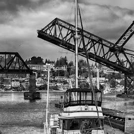 Transition in Black and White by Briand Sanderson - Black & White Buildings & Architecture ( marine, ballard locks, black and white, ship, yacht, transportation, boat, usa, united states, washington state, seattle, locks, ballard, bridge, nautical )