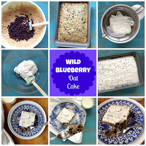 Wild Blueberry Oat Cake with Greek Yogurt Frosting