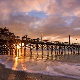 Cloudy Sunrise at Myrtle Beach by John Thomas - Buildings & Architecture Bridges & Suspended Structures ( pier, long exposure, mrytle beach, beach, sunrise, landscape, usa, south carolina )