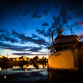 Desire by Jeff Duncan - Transportation Boats ( water, clouds, bellingham, beautiful clouds, long exposure, night, pacific northwest )