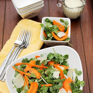 Pea Shoot, Mint and Carrot Salad with Creamy Lemon Vinaigrette