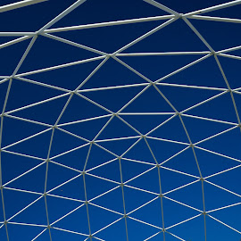 Geodome by Bob MacDonald - Abstract Patterns ( blue sky, geodome, geodesic, plastic, white, blue, net, no people, mesh,  )