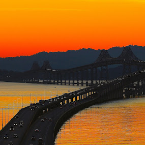 Sunrise over the San Rafael Bridge by Robin Rawlings Wechsler - Buildings & Architecture Bridges & Suspended Structures ( waterscape, seascape, bridge, sunrise )