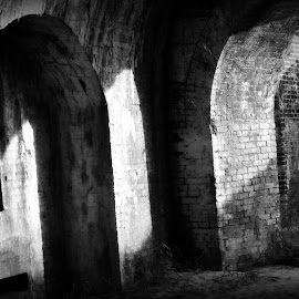 Ft. Pickens by A.j. Amos - Buildings & Architecture Public & Historical ( old, black and white, civil war, architecture, fort )