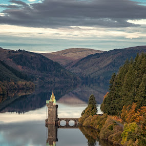 Fairy Tale Tower Reflections by Andy Young - Landscapes Waterscapes ( lake vyrnwy hotel, wales, reflections, lake vyrnwy, fairy tale tower, autumn trees )