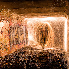 Man in the tunnel by Michael Payne - Abstract Light Painting ( wire wool, long exposure, fire,  )