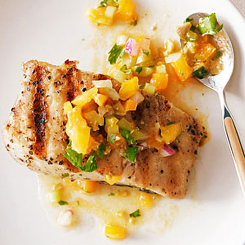 Grilled Halibut with Tomato, Green Olive, and Celery Sauce