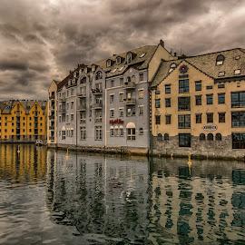 Ålesundet in Ålesund city by Knut Saglien - City,  Street & Park  Vistas ( ålesundet, tourist, sunnmøre, ålesund, norway )