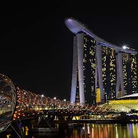 MARINA BAY SANDS by Eduardo Seastres - Buildings & Architecture Architectural Detail ( #cityscapes, #thecityatnight, #marinabaysands, #nightshots, architecture, city at night, street at night, park at night, nightlife, night life, nighttime in the city )