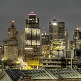 Downtown Kansas City Missouri by David Shayani - Buildings & Architecture Office Buildings & Hotels ( olympus e300, hdr, kansas city, america, midwest, high dynamic range, usa, photomatix pro, city, four thirds, missouri, dark, night, evening )
