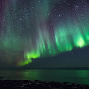 Aurora curtain by Benny Høynes - Landscapes Starscapes ( canon, colors, northern lights, aurora borealis, norway )
