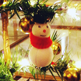 Snowman Pottery Barn by Cheryl Beaudoin - Artistic Objects Other Objects ( lights, balls, decoration, christmas, snowman )