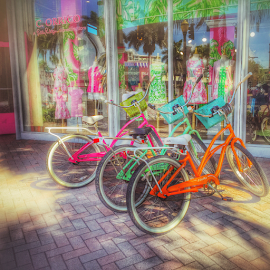 Bike Delight by Wendy Greenhut - Transportation Bicycles ( #bicycles#green#orange#pink#corrico#delraybeach )