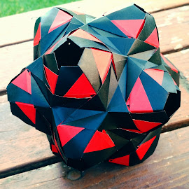 TEG Origami  by Riley Poeschl - Novices Only Objects & Still Life ( red, colorful, paperart, origami, black )