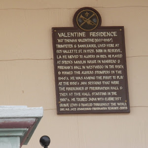 """Kid"" Thomas Valentine (1897-1987), trumpeter and bandleader, lived here at 825 Vallette Street in 1928. Born in Reserve, LA he moved to Algiers in 1923. He played at Speck's Moulin Rouge in Marrero ..."