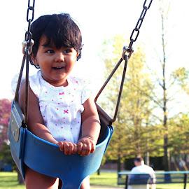 Spring Time! by Avishek Bhattacharya - Babies & Children Toddlers ( child, swinging, toddler, swing )