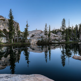 Bartlett Creek by Walter Hsiao - Landscapes Waterscapes ( mirror, reflection, blue, yosemite, bartlett creek, granite )