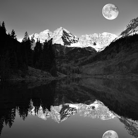 Moon Over Maroon Bells by Michael Smith - Black & White Landscapes ( landcsape, mountains, reflection, moon, black and white, maroon lake, colorado, lake )