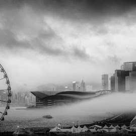 Fog on the Harbour by Will Thierbach - City,  Street & Park  Skylines ( hong kong, skyline, victoria harbour, black and white, fog, asia, bnw, storm, rain, ferris wheel, city, china )