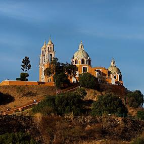 cholula by Cristobal Garciaferro Rubio - Buildings & Architecture Places of Worship ( cholula, church, pyramid, mexico, puebla, mointain )