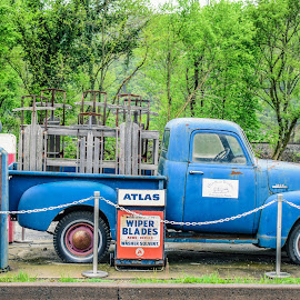 Classic Display by Tiffany Serijna - Artistic Objects Antiques ( 3100, car, old, beat, vintage, blue, tiffanyserijna, display, parked, chevy, classic, abandoned, junk )