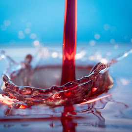 red pouring by Vandal Panda Photog - Abstract Water Drops & Splashes ( water, macro, red, splashing, splash, droplet, drop, splashes, nikon, droplets )