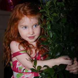 Lily and the Bean Stalk by Elk Baiter - Babies & Children Child Portraits ( plant, child, girl, red hair, lily )