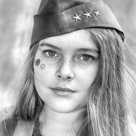 by Marco Bertamé - Black & White Portraits & People ( girl, stars, cap, three, long, hair, portrait,  )