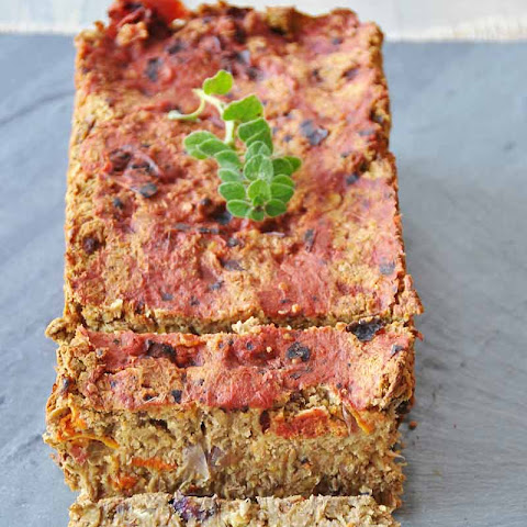 Vegan Lentil Loaf Made With Roasted Carrots, Onion, & Portobellos