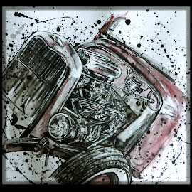 Hot Rod by Debb Rooken-Smith - Illustration Products & Objects ( car, engine, headlight, show, paint, tyre, tire, ink, oil, red, hotrod, mixed media, turbo )