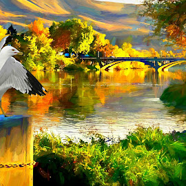 Gull at river by Gaylord Mink - Digital Art People ( bridge, river, trees, landscape, gull )