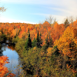 Penokee Range, Potato River, WI by Robert C. Walker - Landscapes Mountains & Hills ( water, hills, height, range, color, autumn, fall, vista, trees, leaves, river )