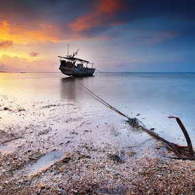 With It's Anchor by Aris Winahyu BR - Landscapes Waterscapes ( waterscape, sunset, boat )