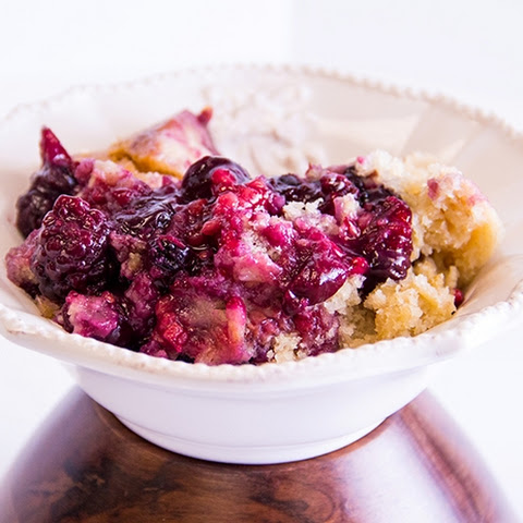Slow Cooker Lemon Triple Berry Cobbler