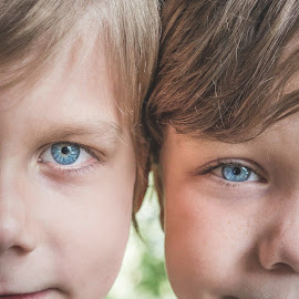 Brothers by Anna Varwig - Babies & Children Child Portraits ( siblings, brothers, blonde, details, faces, portrait, blue eyes,  )
