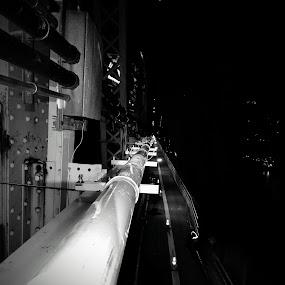 Conduit on the Bridge by Chris Gray - Buildings & Architecture Bridges & Suspended Structures ( queens, black & white, new york, bridge )