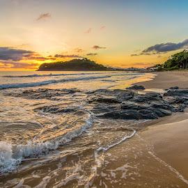 Sunrise in Ilhota Beach by Rqserra Henrique - Landscapes Beaches ( brazil, rqserra, wave, beach, sunrise, landscape, rocks )