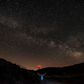 milky way by Enver Karanfil - Landscapes Starscapes ( red, milky way, mountains, saman yolu, stars )