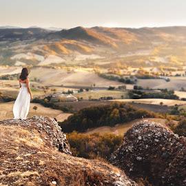 Francesca by Luca Fabiani - Landscapes Mountains & Hills ( sunset, portrait, girl, landscape, summer )