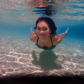 Chaq by Sergei Tokmakov - People Portraits of Women ( model, sexy, girl, underwater, female, blue, tokmakov, freediving, mermaid, portrait )