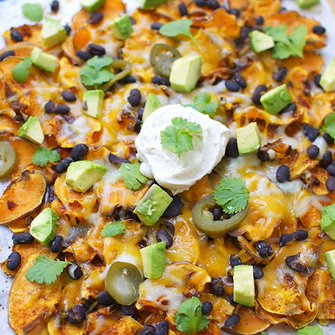 Spicy Sweet Potato Nachos With Vegan Cashew Sour Cream