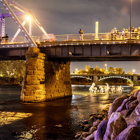 Under the blue bridge by Kevin Stacey - City,  Street & Park  City Parks ( michigan, skyline, stick, horses, artprize, grand rapids, night, bridge )