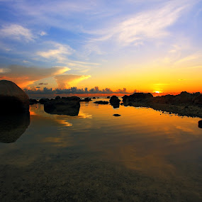 Sunset Stones by Alit  Apriyana - Landscapes Waterscapes