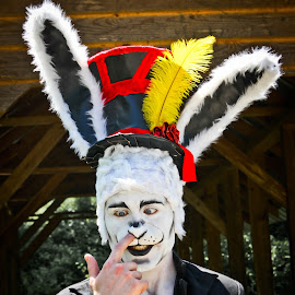The White Rabbit by Brenda Hooper - People Portraits of Men ( rabbit, alice in wonderland, top hat, white, ears, feather,  )