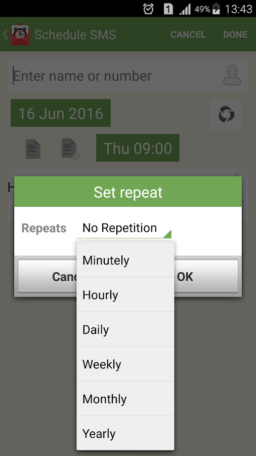SMS-Call Scheduler Pro Screenshot 2