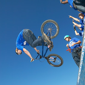 BMX air! by Anthony Allen - Sports & Fitness Cycling ( bmx, half-pipe, air, bike park, trick bike, jump, ramp )