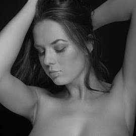 Silence by Reto Heiz - Nudes & Boudoir Artistic Nude ( topless, black and white, romantic, female nude, portrait )