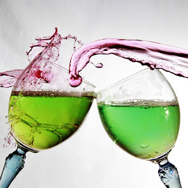 Cheers by Peter Salmon - Artistic Objects Glass ( water, splashing, pour, glass, cheers )
